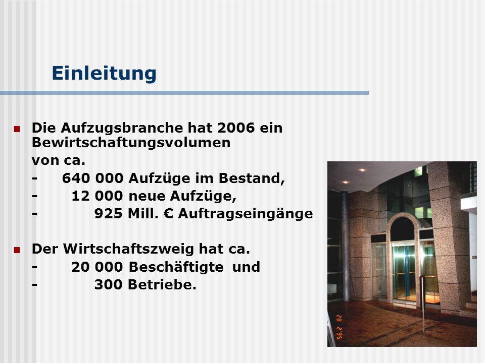 Einleitung Die Aufzugsbranche hat 2006 ein Bewirtschaftungsvolumen von ca. -640 000 Aufzüge im Bestand, - 12 000 neue Aufzüge, - 925 Mill. € Auftragse