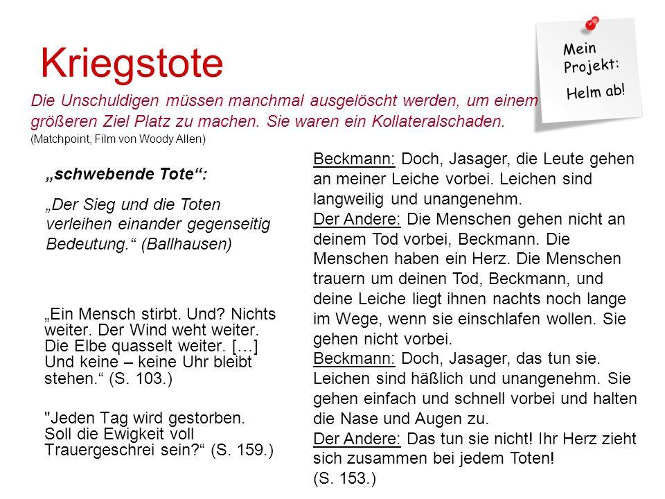 """Mein Projekt: Helm ab.Kriegstote """"Ein Mensch stirbt."""