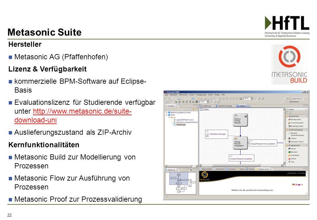 Metasonic Suite 22 Hersteller Metasonic AG (Pfaffenhofen) Lizenz & Verfügbarkeit kommerzielle BPM-Software auf Eclipse- Basis Evaluationslizenz für St