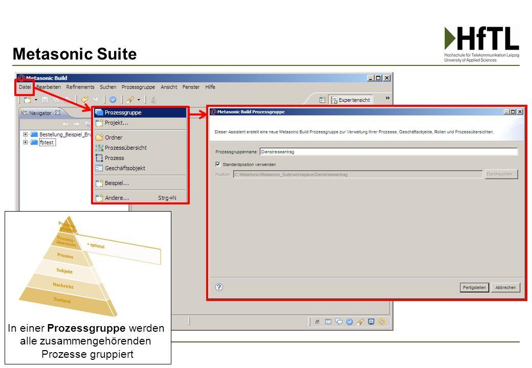 Metasonic Suite 23 In einer Prozessgruppe werden alle zusammengehörenden Prozesse gruppiert