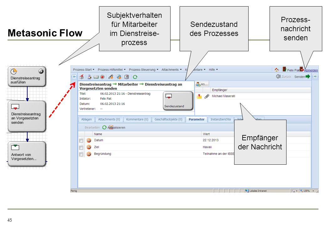Metasonic Flow 45 Subjektverhalten für Mitarbeiter im Dienstreise- prozess Sendezustand des Prozesses Prozess- nachricht senden Empfänger der Nachrich