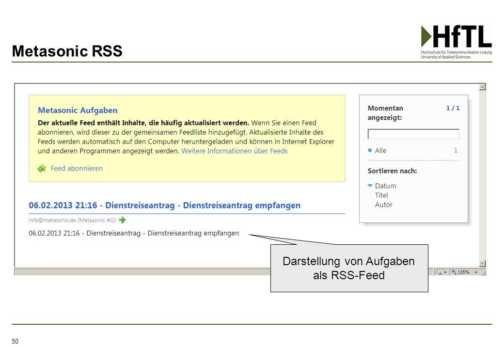 Metasonic RSS 50 Darstellung von Aufgaben als RSS-Feed
