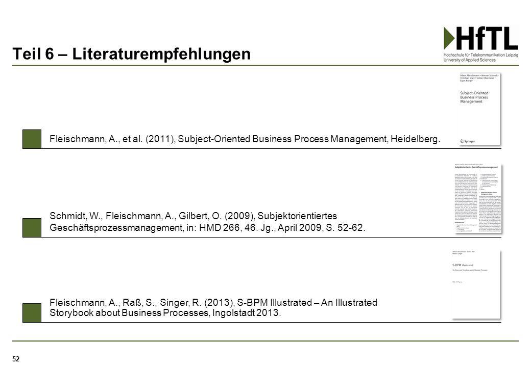 Teil 6 – Literaturempfehlungen Schmidt, W., Fleischmann, A., Gilbert, O. (2009), Subjektorientiertes Geschäftsprozessmanagement, in: HMD 266, 46. Jg.,