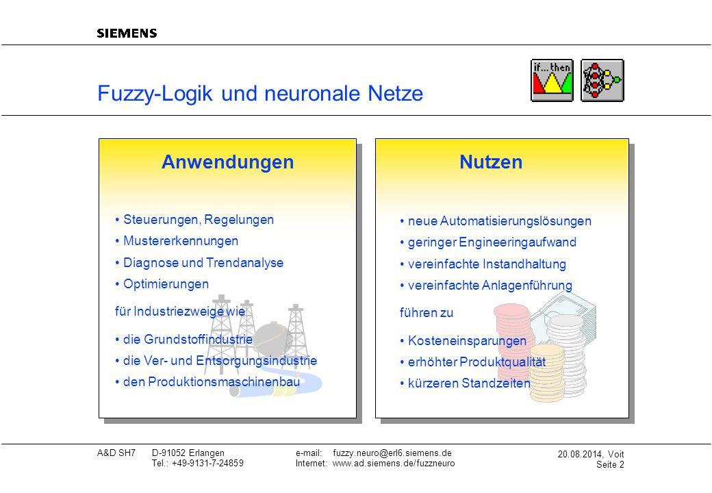 20.08.2014, Voit Seite 3 A&D SH7D-91052 Erlangene-mail: fuzzy.neuro@erl6.siemens.de Tel.: +49-9131-7-24859Internet: www.ad.siemens.de/fuzzneuro Fuzzy-Logik und neuronale Netze Einsatzbereiche FuzzyEinsatzbereiche Neuro Füllstands- und Durchflußregelung (z.B.