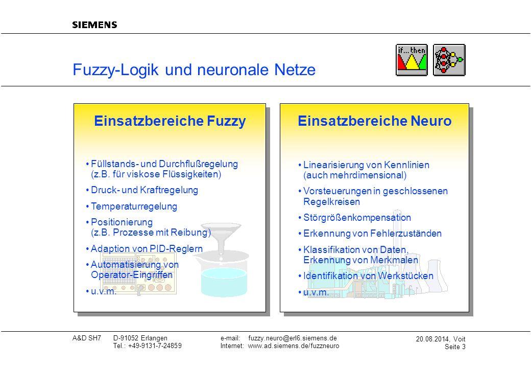 20.08.2014, Voit Seite 4 A&D SH7D-91052 Erlangene-mail: fuzzy.neuro@erl6.siemens.de Tel.: +49-9131-7-24859Internet: www.ad.siemens.de/fuzzneuro Fuzzy-Logik - menschliches Verhalten nachbilden Fuzzy- Logik Fuzzy-Logik auf den Punkt gebracht: Mit Fuzzy-Logik wird menschliches Wissen, z.B.
