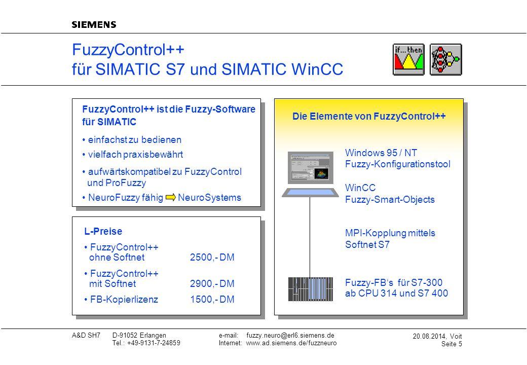 20.08.2014, Voit Seite 6 A&D SH7D-91052 Erlangene-mail: fuzzy.neuro@erl6.siemens.de Tel.: +49-9131-7-24859Internet: www.ad.siemens.de/fuzzneuro Druck Temp.