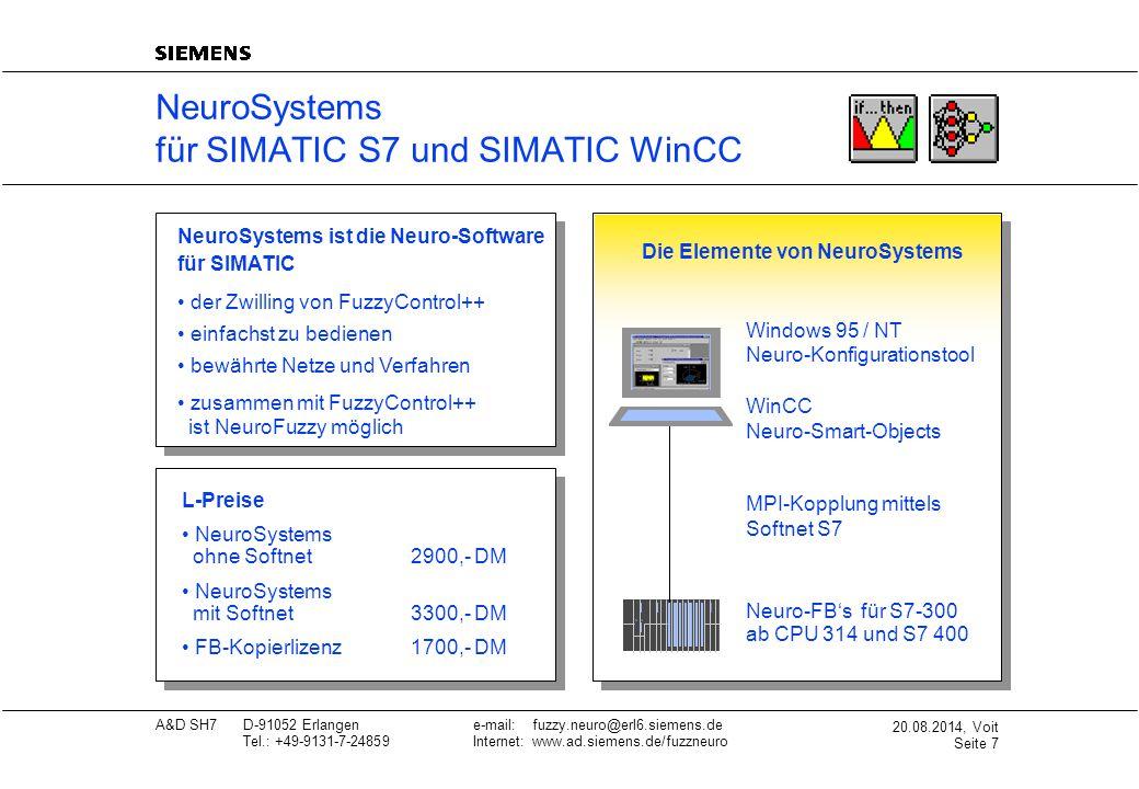 20.08.2014, Voit Seite 8 A&D SH7D-91052 Erlangene-mail: fuzzy.neuro@erl6.siemens.de Tel.: +49-9131-7-24859Internet: www.ad.siemens.de/fuzzneuro Technische Daten FuzzyControl++ Anzahl Eingänge:8 Anzahl Ausgänge:4 Anzahl Regeln:200(für S7-300) 2000(für S7-400 und WinCC) Zielplattformen:· S7-300(AWL-FB, DB-Größe: 4 KB) · S7-400(AWL-FB, DB-Größe: 4 KB oder 20 KB) · WinCC V3.1 oder V4.0 (Smart-Object-OLL) HW-Schnittstellen:MPI via Softnet-S7 (nur für SIMATIC S7 notwendig) SW-Schnittstellen:· ASCII-Datei · Kurvenschreiberarchiv · Online-Monitoring der Prozeßdaten; auch in ASCII-Datei · Kopplung zu NeuroSystems via standardisierter FPL-Datei Zugehörigkeitsfunktionen:Trapez(max.