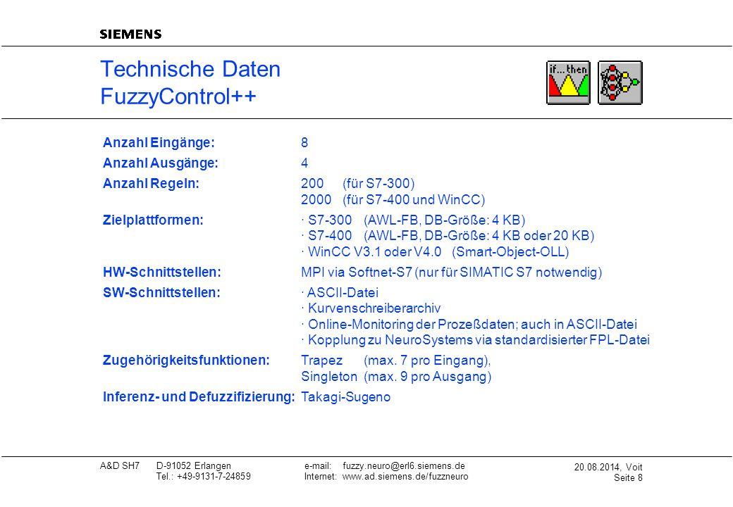 20.08.2014, Voit Seite 9 A&D SH7D-91052 Erlangene-mail: fuzzy.neuro@erl6.siemens.de Tel.: +49-9131-7-24859Internet: www.ad.siemens.de/fuzzneuro Technische Daten NeuroSystems Anzahl Eingänge:100 (S7-400)4 (S7-300) 10 (WinCC) Anzahl Ausgänge: 10 (S7-400)4 (S7-300) 5 (WinCC) Zielplattformen:· S7-300 (AWL-FB, DB-Größe: 4 KB) · S7-400 (AWL-FB, DB-Größe: 4 KB oder 20 KB) · WinCC V3.1 oder V4.0 (Smart-Object-OLL) HW-Schnittstellen:MPI via Softnet-S7 (nur für SIMATIC S7 notwendig) SW-Schnittstellen:· ASCII-Datei · Kurvenschreiberarchiv · Online-Monitoring der Prozeßdaten; auch in ASCII-Datei · Kopplung zu FuzzyControl++ via FPL-Datei Netzarten:Multilayer Perceptron (MLP) Radial-Basis-Funktion-Netze (RBF) Neuro-Fuzzy-Netze (NFN) Anzahl Schichten:MLP: 3...4(vom Anwender einstellbar) RBF: 3(vom Anwender nicht veränderbar) NFN: abhängig vom Fuzzy-System (automat.