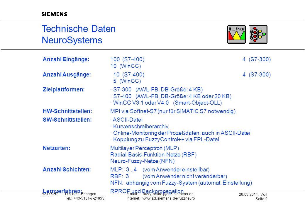 20.08.2014, Voit Seite 9 A&D SH7D-91052 Erlangene-mail: fuzzy.neuro@erl6.siemens.de Tel.: +49-9131-7-24859Internet: www.ad.siemens.de/fuzzneuro Techni