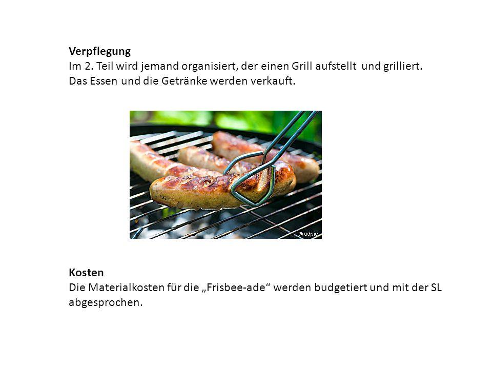 Verpflegung Im 2.Teil wird jemand organisiert, der einen Grill aufstellt und grilliert.