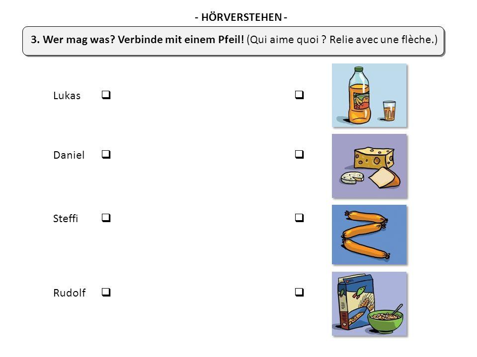 Lukas   Daniel   Steffi   Rudolf   3. Wer mag was? Verbinde mit einem Pfeil! (Qui aime quoi ? Relie avec une flèche.) - HÖRVERSTEHEN -