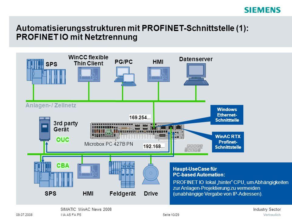 """Vertraulich Industry SectorSIMATIC WinAC News 2008 09.07.2008I IA AS FA PSSeite 10/29 HMIPG/PC Drive Automatisierungsstrukturen mit PROFINET-Schnittstelle (1): PROFINET IO mit Netztrennung SPS Datenserver FeldgerätHMISPS CBA 3rd party Gerät OUC WinAC RTX Profinet- Schnittstelle Windows Ethernet- Schnitttelle WinCC flexible Thin Client Haupt-UseCase für PC-based Automation: PROFINET IO lokal """"hinter CPU, um Abhängigkeiten zur Anlagen-Projektierung zu vermeiden (unabhängige Vergabe von IP-Adressen)."""