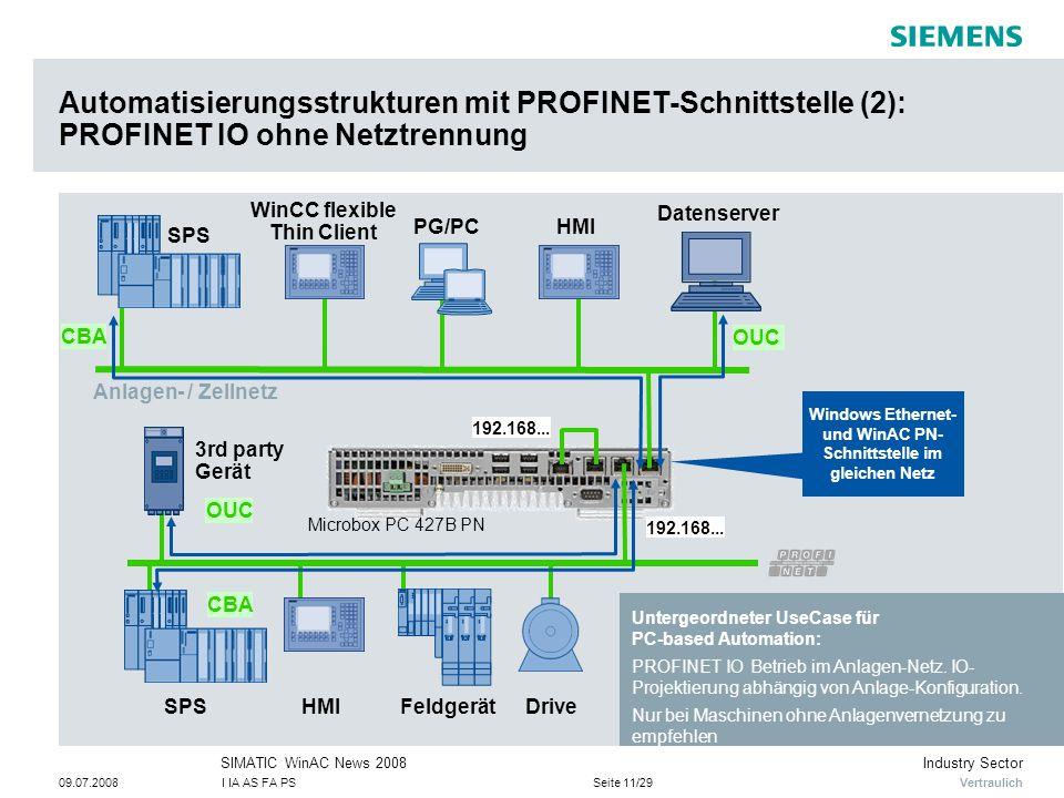 Vertraulich Industry SectorSIMATIC WinAC News 2008 09.07.2008I IA AS FA PSSeite 11/29 HMIPG/PC Drive Automatisierungsstrukturen mit PROFINET-Schnittstelle (2): PROFINET IO ohne Netztrennung SPS Datenserver FeldgerätHMISPS 3rd party Gerät OUC Windows Ethernet- und WinAC PN- Schnittstelle im gleichen Netz WinCC flexible Thin Client Untergeordneter UseCase für PC-based Automation: PROFINET IO Betrieb im Anlagen-Netz.