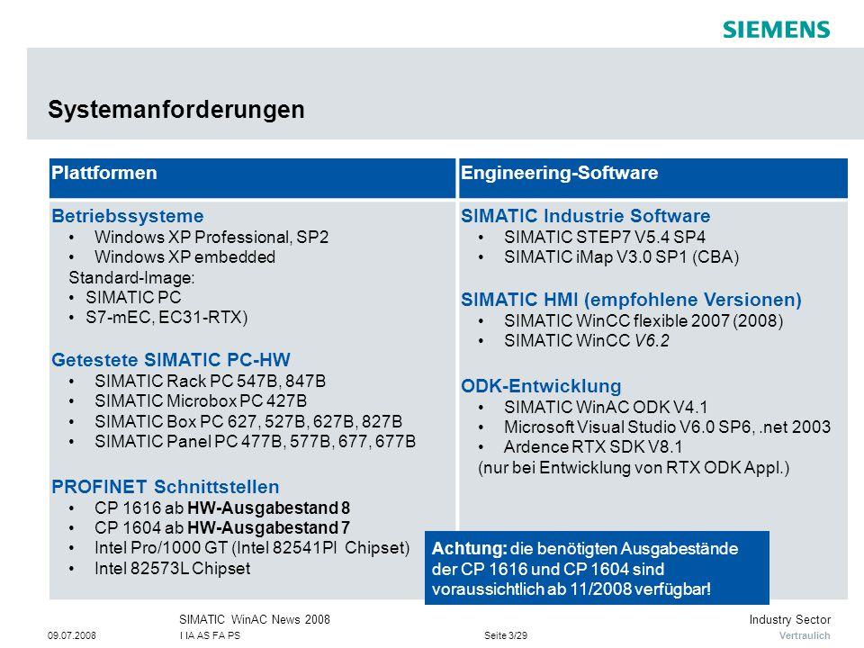 Vertraulich Industry SectorSIMATIC WinAC News 2008 09.07.2008I IA AS FA PSSeite 3/29 Systemanforderungen PlattformenEngineering-Software Betriebssyste