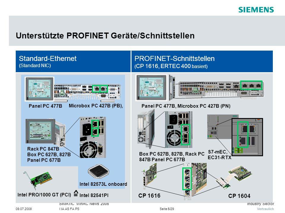 Vertraulich Industry SectorSIMATIC WinAC News 2008 09.07.2008I IA AS FA PSSeite 5/29 Unterstützte PROFINET Geräte/Schnittstellen Standard-Ethernet (Standard NIC) PROFINET-Schnittstellen ( CP 1616, ERTEC 400 basiert) CP 1616 CP 1604 Panel PC 477B, Microbox PC 427B (PN) Box PC 627B, 827B, Rack PC 847B Panel PC 677B S7-mEC, EC31-RTX Intel PRO/1000 GT (PCI) Panel PC 477B Rack PC 847B Box PC 627B, 827B Panel PC 677B Microbox PC 427B (PB), Intel 82573L onboard Intel 82541PI =