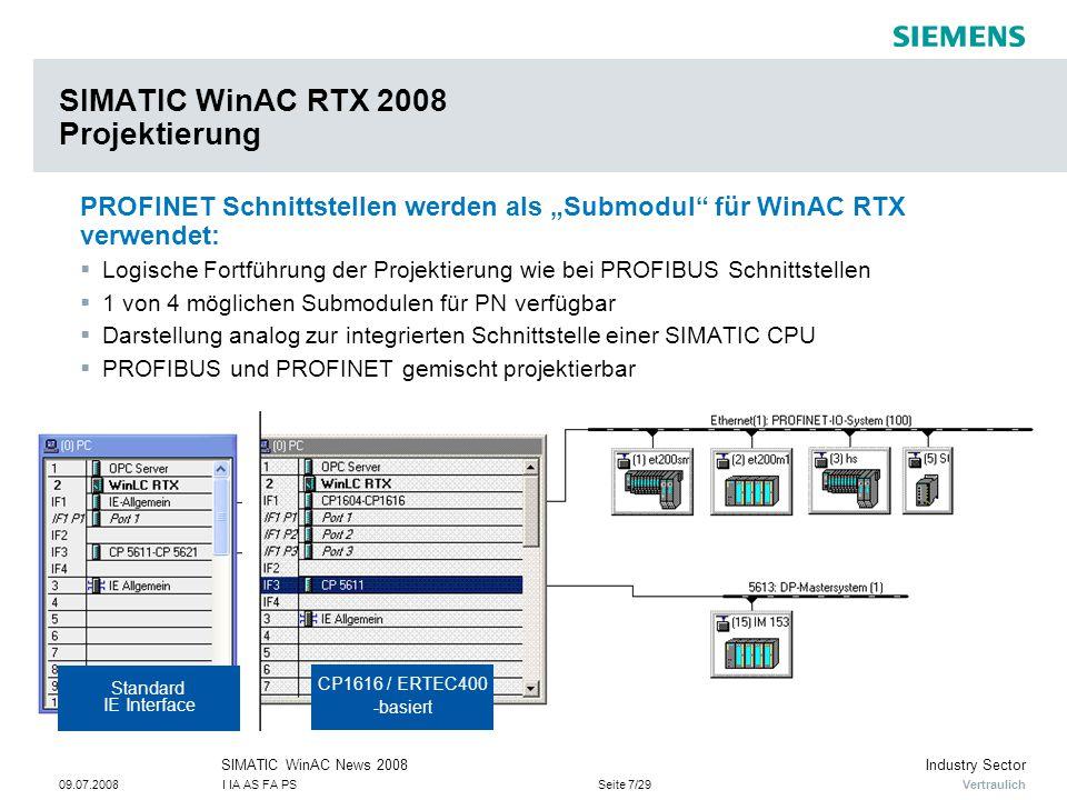 """Vertraulich Industry SectorSIMATIC WinAC News 2008 09.07.2008I IA AS FA PSSeite 7/29 SIMATIC WinAC RTX 2008 Projektierung PROFINET Schnittstellen werden als """"Submodul für WinAC RTX verwendet:  Logische Fortführung der Projektierung wie bei PROFIBUS Schnittstellen  1 von 4 möglichen Submodulen für PN verfügbar  Darstellung analog zur integrierten Schnittstelle einer SIMATIC CPU  PROFIBUS und PROFINET gemischt projektierbar Standard IE Interface CP1616 / ERTEC400 -basiert"""