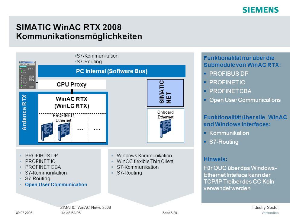 Vertraulich Industry SectorSIMATIC WinAC News 2008 09.07.2008I IA AS FA PSSeite 8/29 SIMATIC WinAC RTX 2008 Kommunikationsmöglichkeiten Ardence RTX PC Internal (Software Bus) Onboard Ethernet WinAC RTX (WinLC RTX)...… SIMATIC NET CPU Proxy  PROFIBUS DP  PROFINET IO  PROFINET CBA  S7-Kommunikation  S7-Routing  Open User Communication  Windows Kommunikation  WinCC flexible Thin Client  S7-Kommunikation  S7-Routing  S7-Kommunikation  S7-Routing PROFINET/ Ethernet Funktionalität nur über die Submodule von WinAC RTX:  PROFIBUS DP  PROFINET IO  PROFINET CBA  Open User Communications Funktionalität über alle WinAC and Windows Interfaces:  Kommunikation  S7-Routing Hinweis: Für OUC über das Windows- Ethernet Inteface kann der TCP/IP Treiber des CC Köln verwendet werden