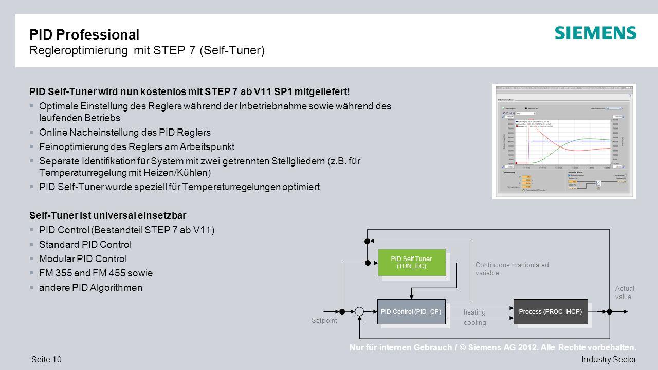 Nur für internen Gebrauch / © Siemens AG 2012. Alle Rechte vorbehalten. Industry SectorSeite 10 PID Professional Regleroptimierung mit STEP 7 (Self-Tu
