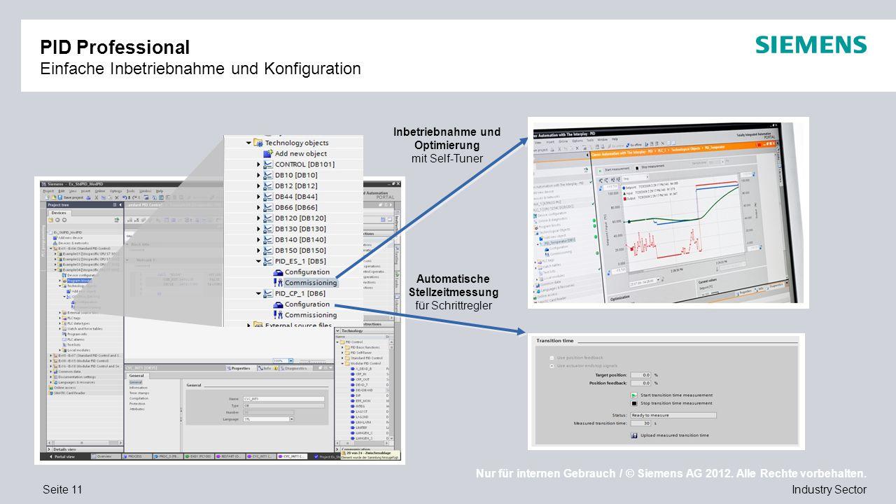 Nur für internen Gebrauch / © Siemens AG 2012. Alle Rechte vorbehalten. Industry SectorSeite 11 PID Professional Einfache Inbetriebnahme und Konfigura