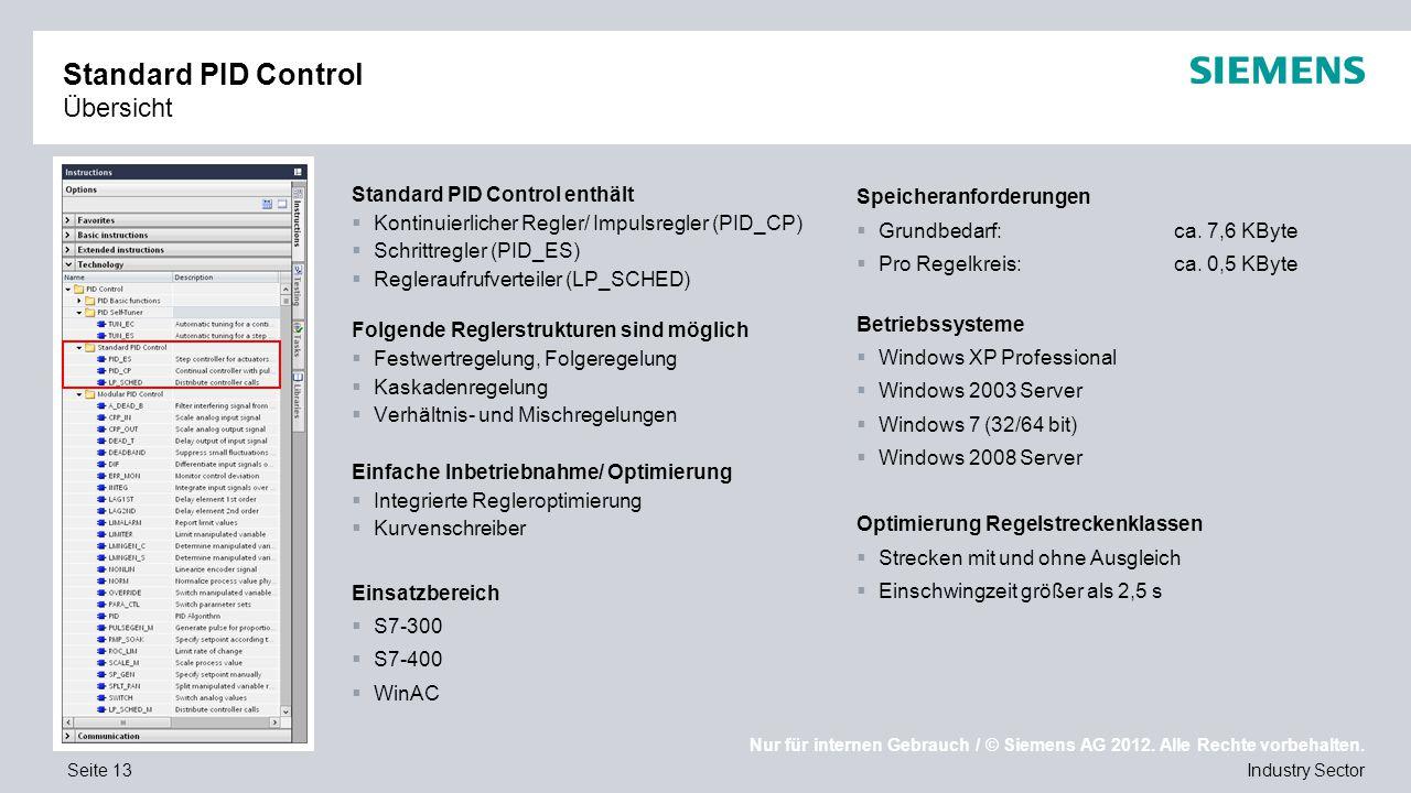 Nur für internen Gebrauch / © Siemens AG 2012. Alle Rechte vorbehalten. Industry SectorSeite 13 Standard PID Control Übersicht Standard PID Control en
