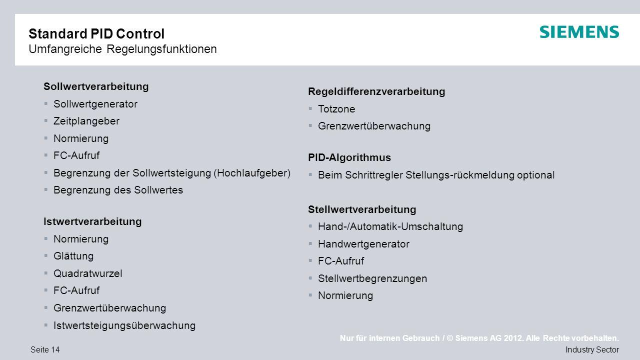 Nur für internen Gebrauch / © Siemens AG 2012. Alle Rechte vorbehalten. Industry SectorSeite 14 Standard PID Control Umfangreiche Regelungsfunktionen