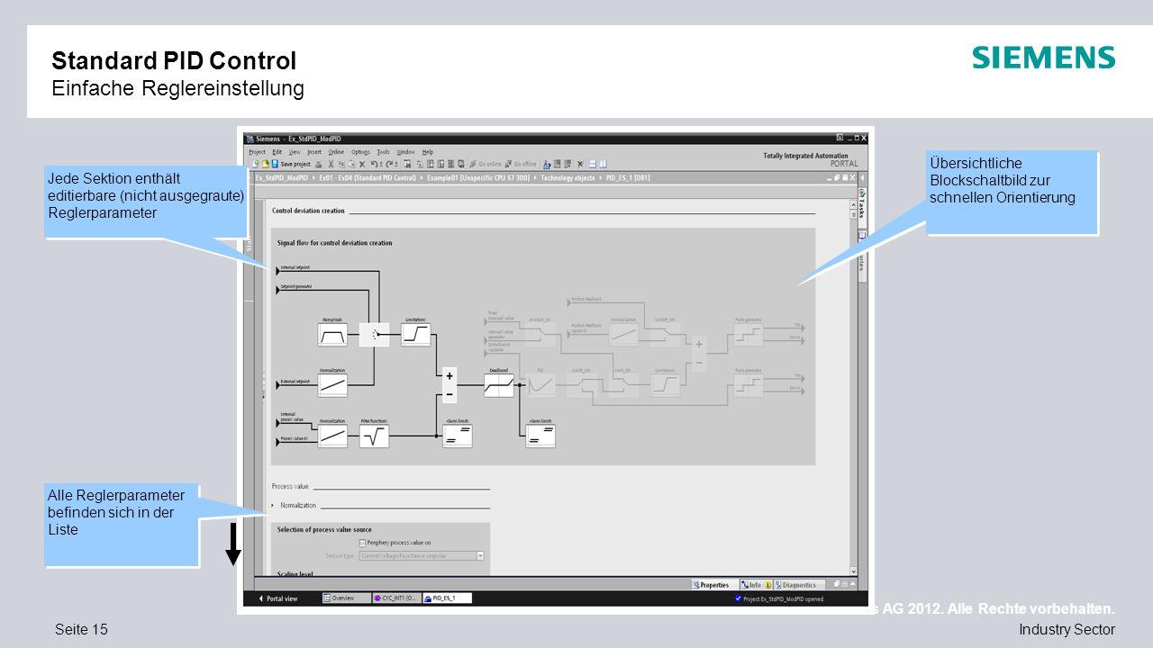Nur für internen Gebrauch / © Siemens AG 2012. Alle Rechte vorbehalten. Industry SectorSeite 15 Standard PID Control Einfache Reglereinstellung Jede S