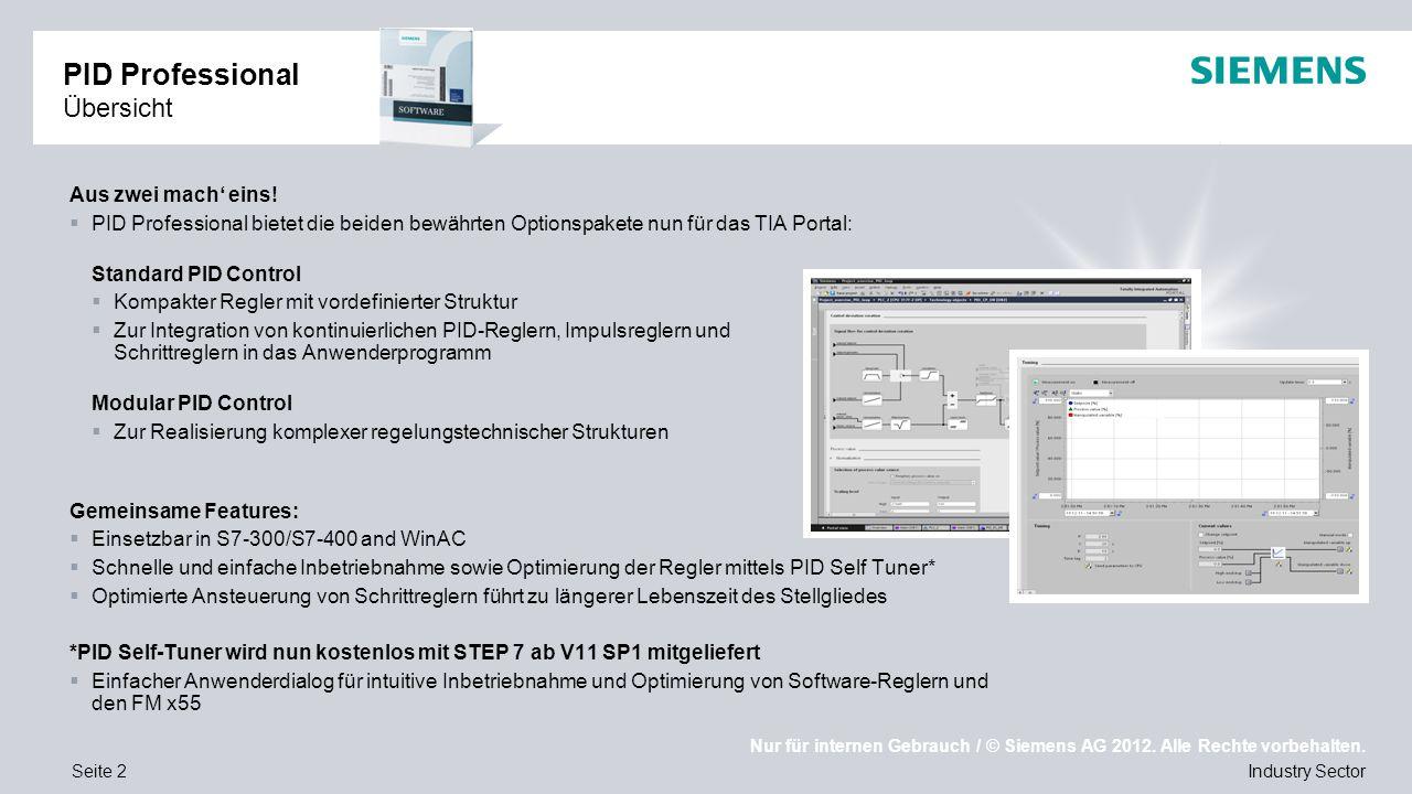 Nur für internen Gebrauch / © Siemens AG 2012. Alle Rechte vorbehalten. Industry SectorSeite 2 PID Professional Übersicht Aus zwei mach' eins!  PID P