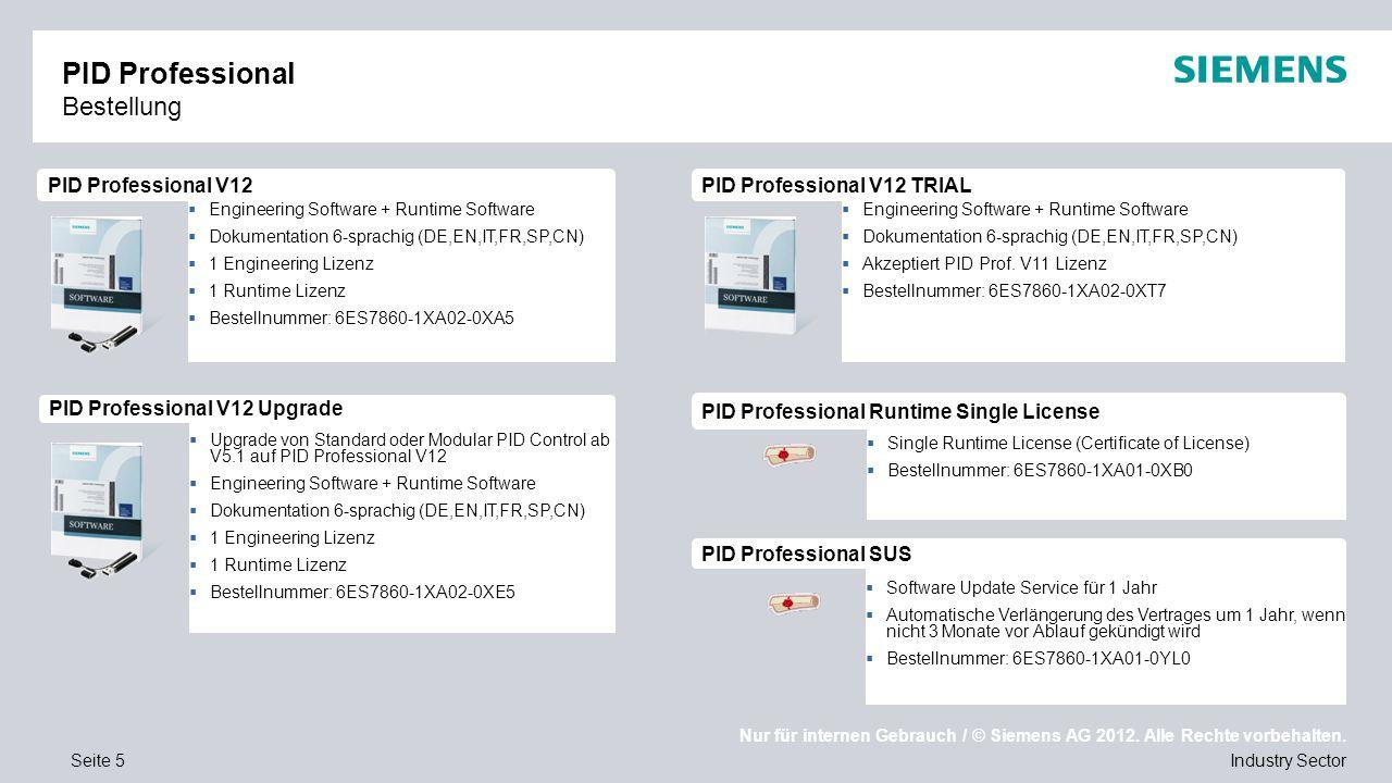 Nur für internen Gebrauch / © Siemens AG 2012. Alle Rechte vorbehalten. Industry SectorSeite 5  Software Update Service für 1 Jahr  Automatische Ver