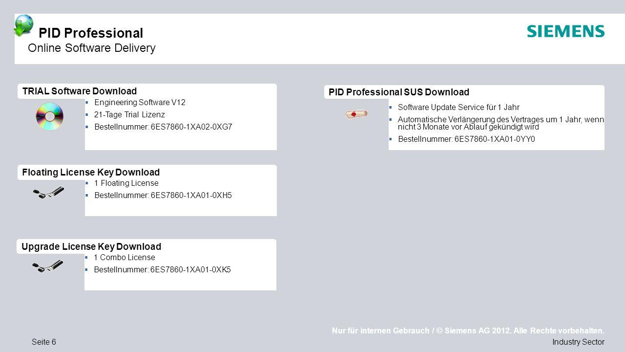 Nur für internen Gebrauch / © Siemens AG 2012. Alle Rechte vorbehalten. Industry SectorSeite 6  1 Floating License  Bestellnummer: 6ES7860-1XA01-0XH