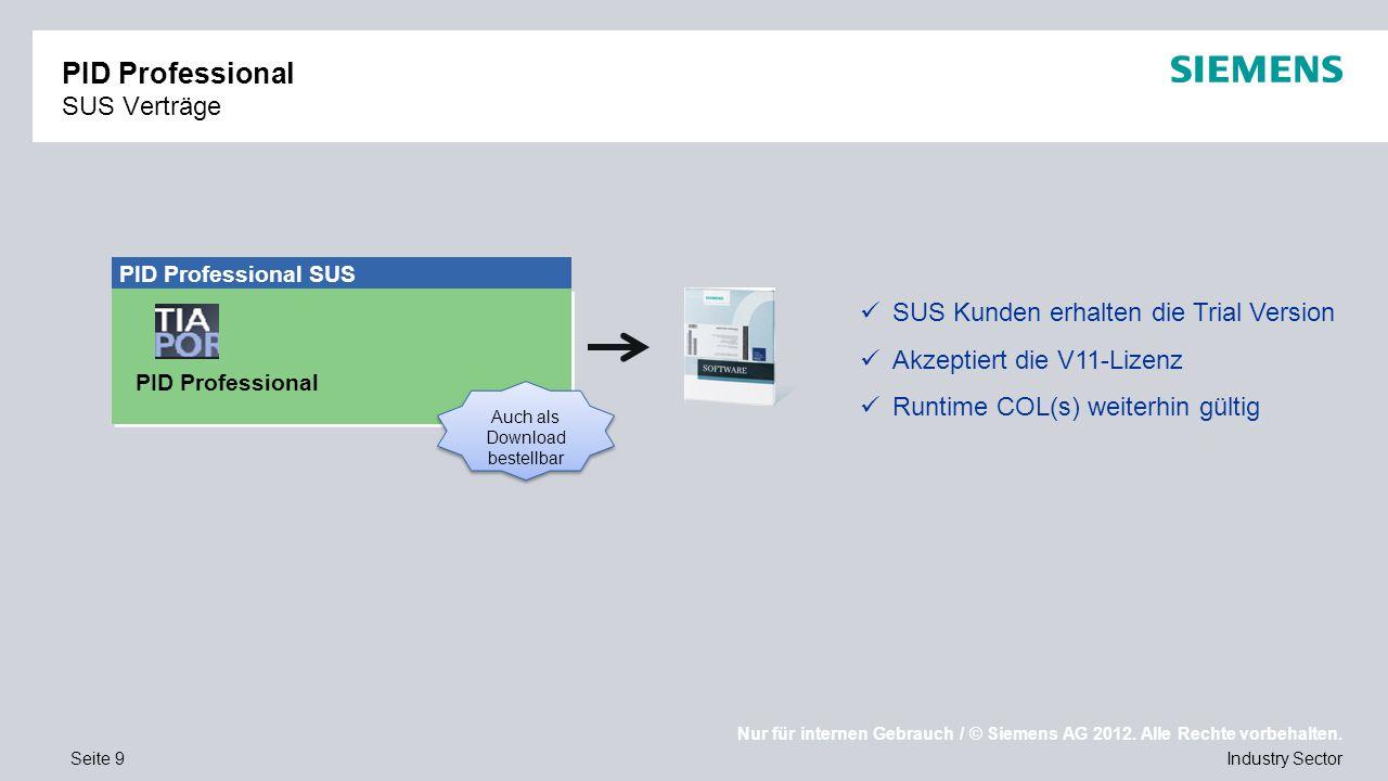 Nur für internen Gebrauch / © Siemens AG 2012. Alle Rechte vorbehalten. Industry SectorSeite 9 PID Professional SUS Verträge SUS Kunden erhalten die T