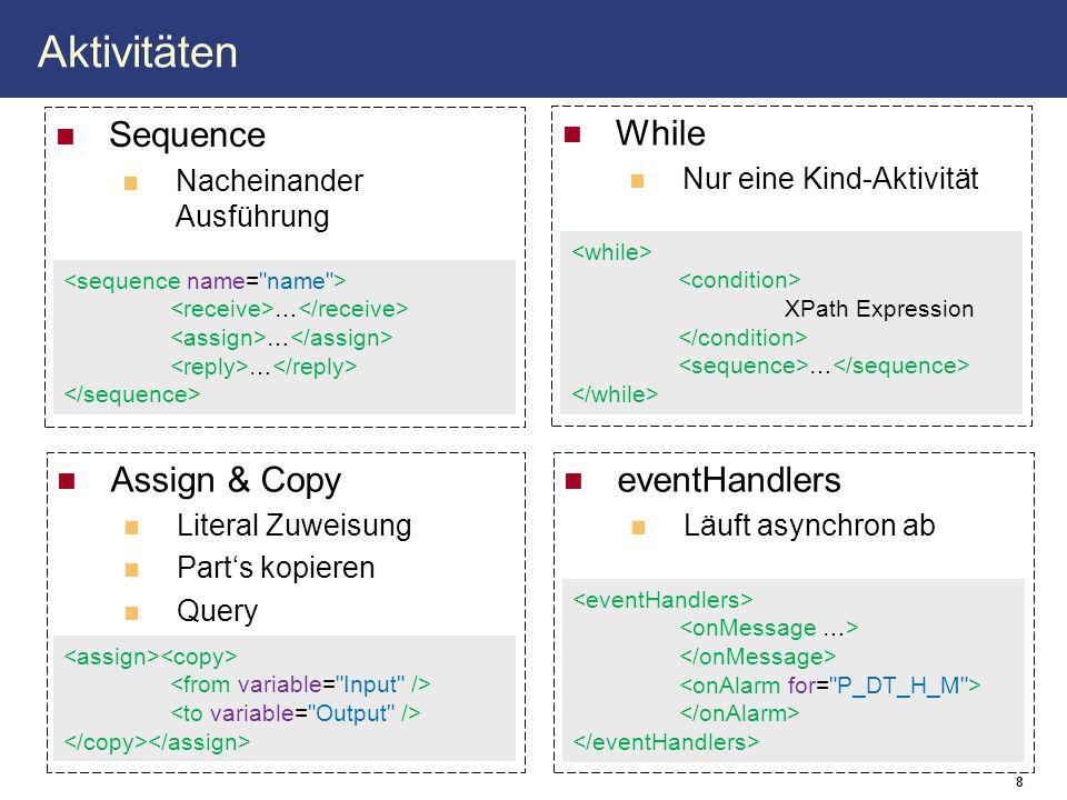 8 Aktivitäten While Nur eine Kind-Aktivität Assign & Copy Literal Zuweisung Part's kopieren Query eventHandlers Läuft asynchron ab Sequence Nacheinander Ausführung … XPath Expression …