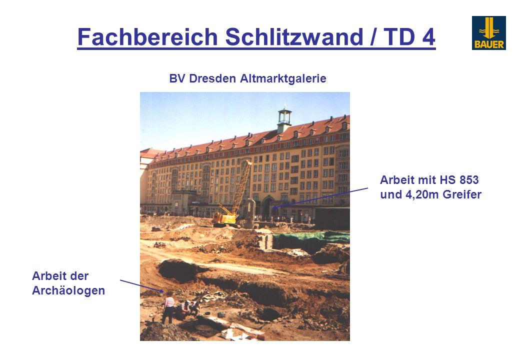 Fachbereich Schlitzwand / TD 4 BV Dresden Altmarktgalerie Arbeit mit HS 853 und 4,20m Greifer Arbeit der Archäologen