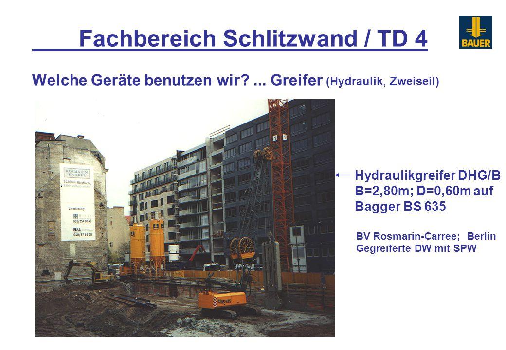 Fachbereich Schlitzwand / TD 4 Welche Geräte benutzen wir?... Greifer (Hydraulik, Zweiseil) Hydraulikgreifer DHG/B B=2,80m; D=0,60m auf Bagger BS 635
