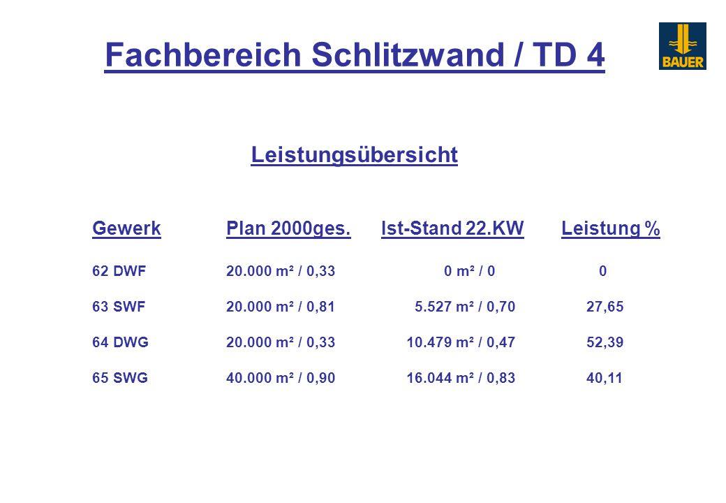 GewerkPlan 2000ges. Ist-Stand 22.KWLeistung % 62 DWF20.000 m² / 0,33 0 m² / 0 0 63 SWF20.000 m² / 0,81 5.527 m² / 0,70 27,65 64 DWG20.000 m² / 0,33 10