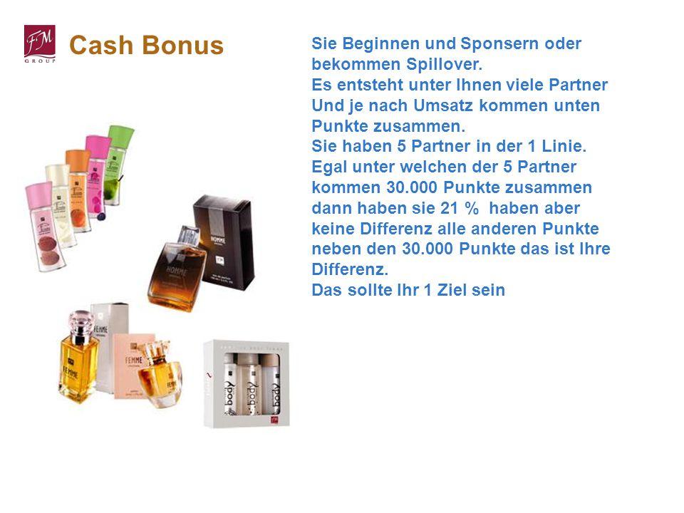 Cash Bonus Sie Beginnen und Sponsern oder bekommen Spillover. Es entsteht unter Ihnen viele Partner Und je nach Umsatz kommen unten Punkte zusammen. S