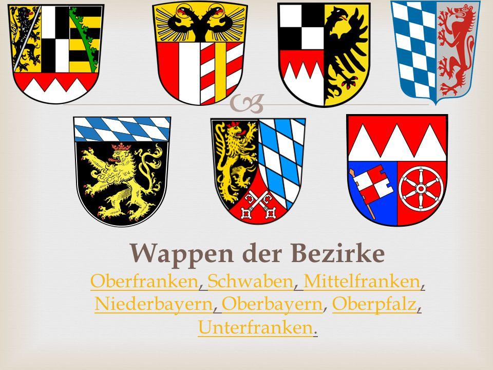 Wappen der Bezirke Oberfranken, Schwaben, Mittelfranken, Niederbayern, Oberbayern, Oberpfalz, Unterfranken.