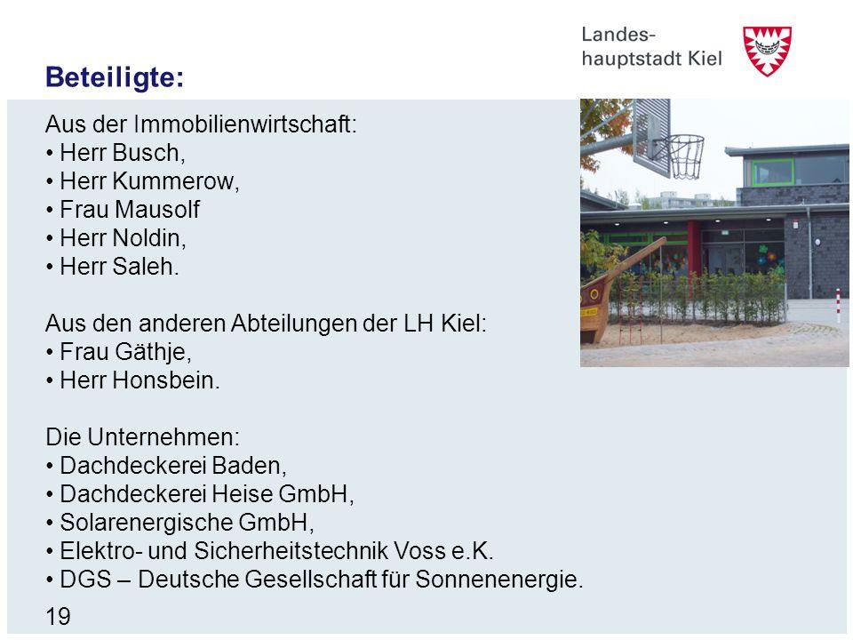 19 Beteiligte: Aus der Immobilienwirtschaft: Herr Busch, Herr Kummerow, Frau Mausolf Herr Noldin, Herr Saleh. Aus den anderen Abteilungen der LH Kiel: