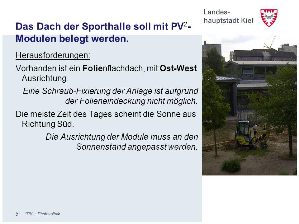 6 Finanzierung und Größe der Anlage Ziel der Investition durch die Stadt Kiel ist, dass sich die Anlage innerhalb kurzer Zeit durch die eingesparten Stromkosten bezahlt machen soll.