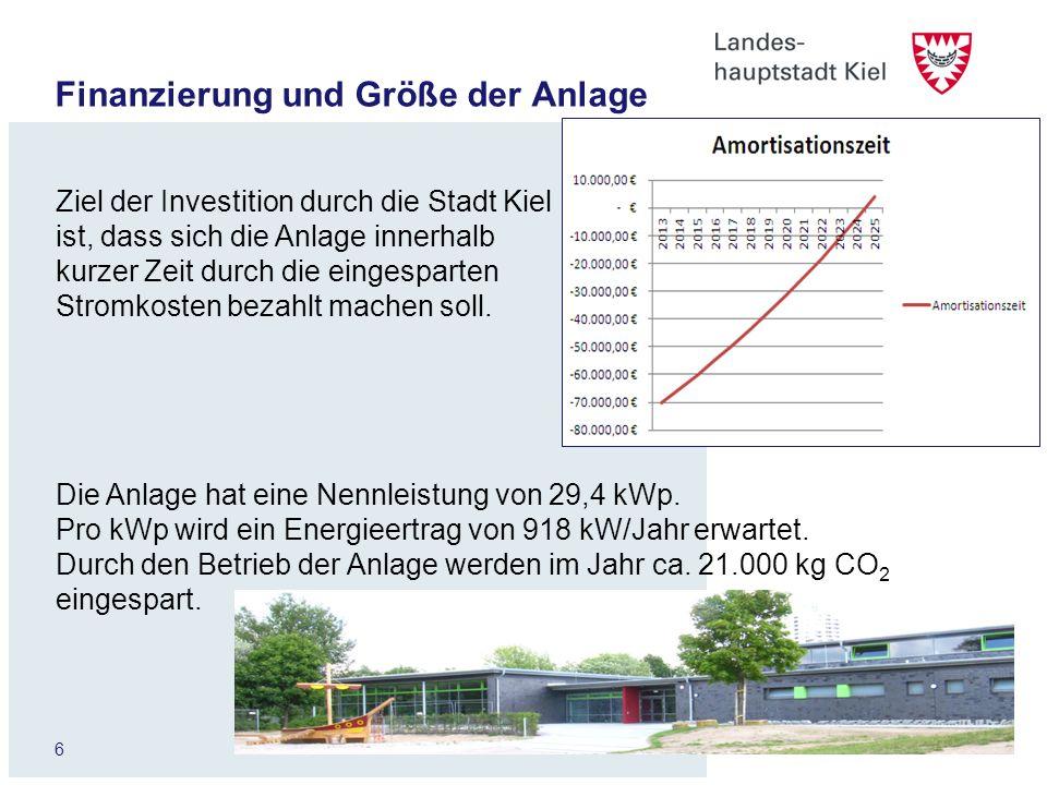 6 Finanzierung und Größe der Anlage Ziel der Investition durch die Stadt Kiel ist, dass sich die Anlage innerhalb kurzer Zeit durch die eingesparten S