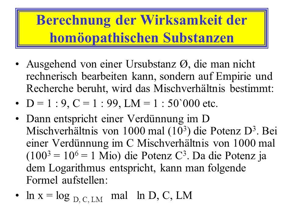 Berechnung der Wirksamkeit der homöopathischen Substanzen Ausgehend von einer Ursubstanz Ø, die man nicht rechnerisch bearbeiten kann, sondern auf Emp