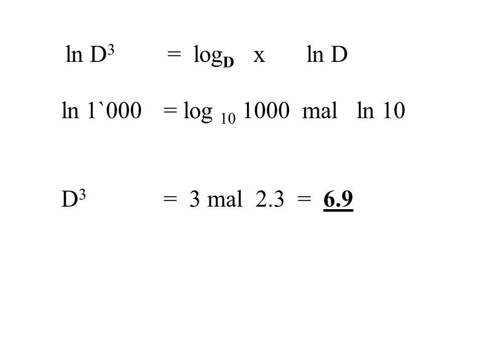 ln D 3 = log D xln D ln 1`000 = log 10 1000 mal ln 10 D 3 = 3 mal 2.3 = 6.9