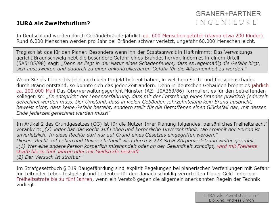 GRANER+PARTNER I N G E N I E U R EI N G E N I E U R E JURA als Zweitstudium? In Deutschland werden durch Gebäudebrände jährlich ca. 600 Menschen getöt
