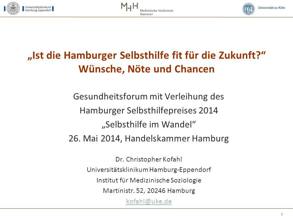 """1 """"Ist die Hamburger Selbsthilfe fit für die Zukunft?"""" Wünsche, Nöte und Chancen Gesundheitsforum mit Verleihung des Hamburger Selbsthilfepreises 2014"""