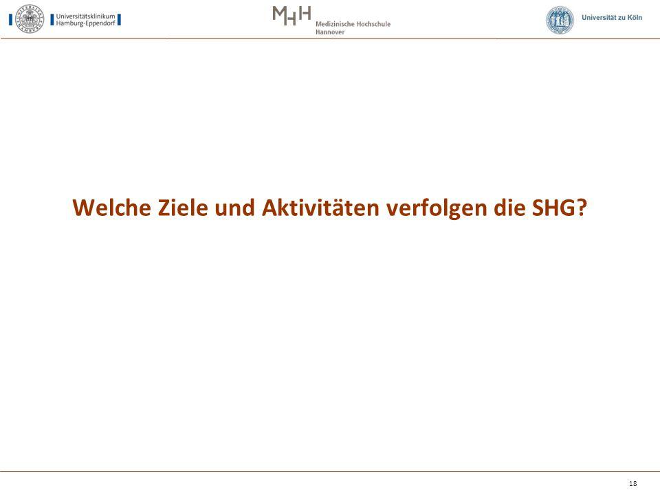 Welche Ziele und Aktivitäten verfolgen die SHG? 18