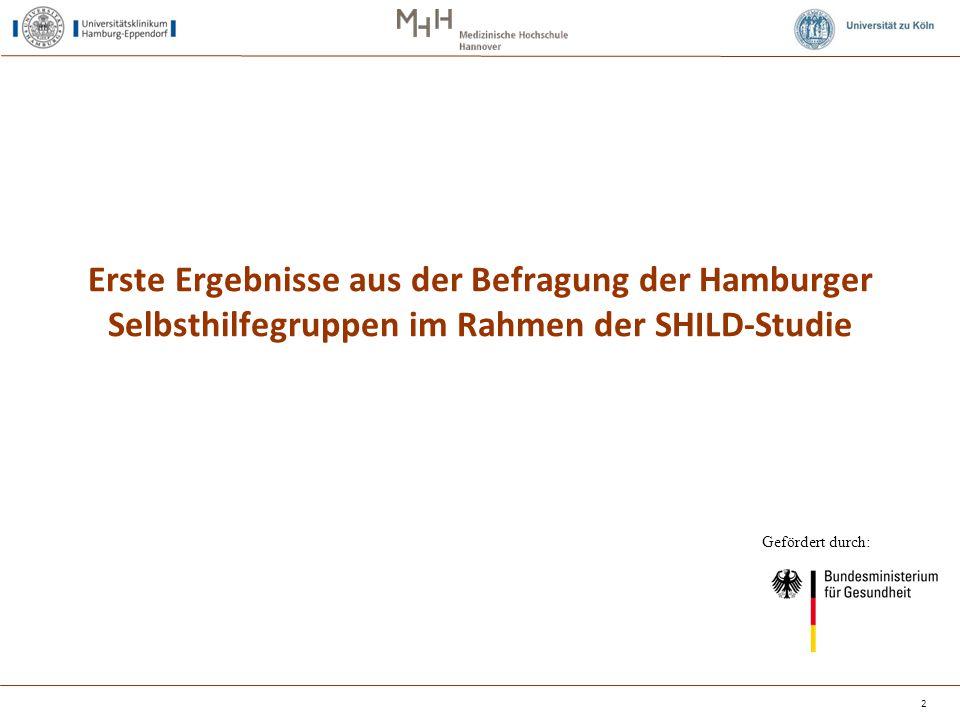 Erste Ergebnisse aus der Befragung der Hamburger Selbsthilfegruppen im Rahmen der SHILD-Studie 2 Gefördert durch: