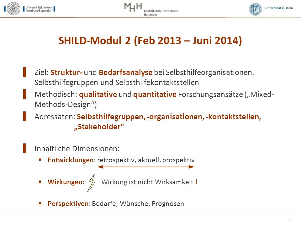 4 SHILD-Modul 2 (Feb 2013 – Juni 2014) ▌ Ziel: Struktur- und Bedarfsanalyse bei Selbsthilfeorganisationen, Selbsthilfegruppen und Selbsthilfekontaktst