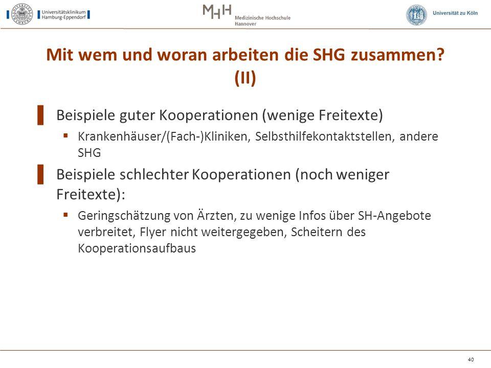 Mit wem und woran arbeiten die SHG zusammen? (II) ▌ Beispiele guter Kooperationen (wenige Freitexte)  Krankenhäuser/(Fach-)Kliniken, Selbsthilfekonta