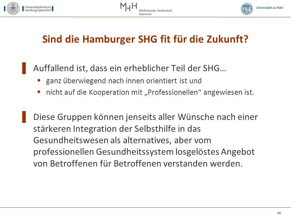 Sind die Hamburger SHG fit für die Zukunft? ▌ Auffallend ist, dass ein erheblicher Teil der SHG…  ganz überwiegend nach innen orientiert ist und  ni