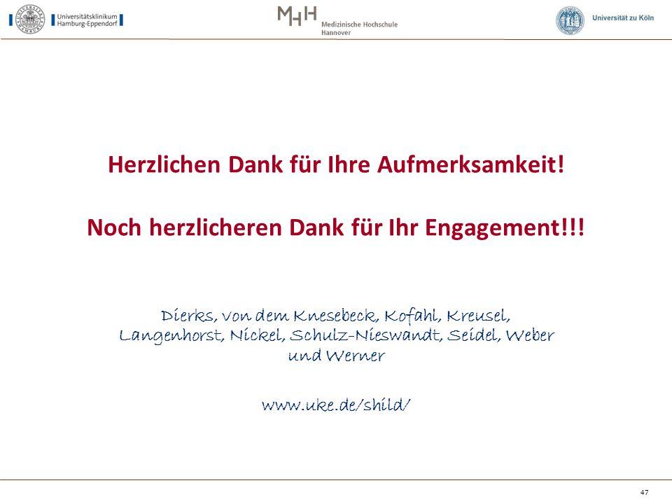 47 Dierks, von dem Knesebeck, Kofahl, Kreusel, Langenhorst, Nickel, Schulz-Nieswandt, Seidel, Weber und Werner www.uke.de/shild/ Herzlichen Dank für I