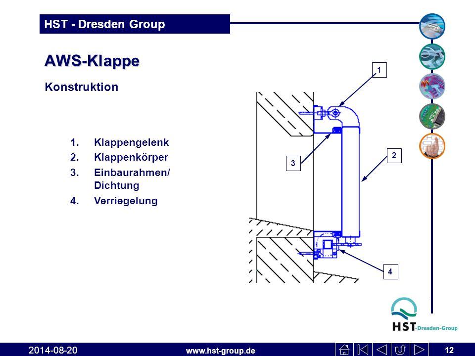 www.hst-group.de HST - Dresden Group AWS-Klappe Konstruktion 12 2014-08-20 1.Klappengelenk 2.Klappenkörper 3.Einbaurahmen/ Dichtung 4.Verriegelung 2 1 4 3